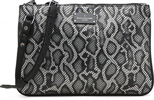 PAUL'S BOUTIQUE, borsa da donna, Borsa a tracolla, Borsetta, Borsa a spalla, Effetto Pitone, Nero, 25 x 17 x 2cm (LxHxP)