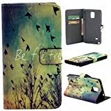 Note 4 Case,Vogue Shop Note 4 Wallet Case [Book Fold] Leather Galaxy Note 4 Cover [Flip Cover] with Foldable Stand, Pockets for ID, Credit Cards - Black Flip Case for Samsung Note 4 .Protective Samsung Galaxy Note 4 PU Leather Wallet Case with Foldable Kickstand and HD Screen Protector for Galaxy Note 4 Folio with Stand All-around TPU Inner Case and Snap Button Closure Stylish Pattern Design for Note 4 (Vogue shop-Migratory Bird)