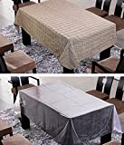 FREELY COFFEE COLOR COTTON TABLE COVER WITH TRANSPRANT TABLE COVER FOR 6 SEATERS ( Buy 1 Get 1 )
