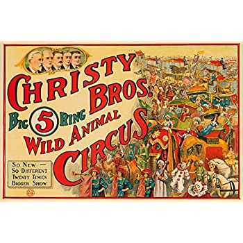 Christy Bros - Wild Animal Circus Vintage Poster USA c. 1924 (9x12 Collectible Art Print, Wall Decor Travel Poster)