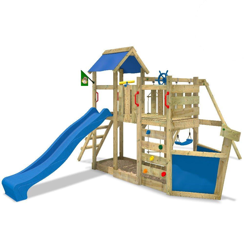 WICKEY OceanFlyer Spielturm Kletterturm mit Rutsche Schaukel Sandkasten + Zubehör-Komplettset (blaue Rutsche / blaue Dachplane) günstig online kaufen