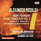 Iron Foundry, op. 19 - Concerto pour piano et orchestre n° 1, op. 14 - Tractor's arrival at the Kolkhoz - Légende pour violoncelle et piano, op. 5 - Sonate pour piano n° 1, op. 3 - Four Newspaper Announcements, op. 21