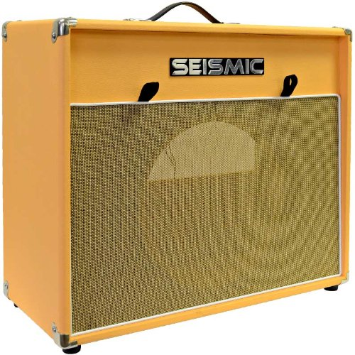 """Seismic Audio - 1X12 Guitar Speaker Cab Empty - 7 Ply Birch - 12"""" Speakerless Cabinet - Vintage New - Orange Tolex - Wheat Cloth Grill - Front Or Rear Loading Options"""