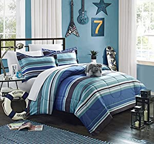 Chic Home 6 Piece Blue Striped Bed in a Bag Comforter Set with Sheet Set, Twin, Blue