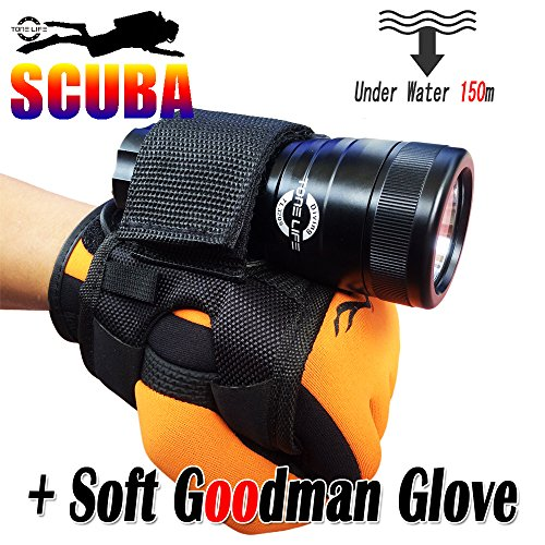 Tonelife 1000lumens Scuba Dive Light Diving Torch Underwater Flashlight Backup Sturdy Mask Lamp Waterproof Lantern Cree U2 Led with Soft Neoprene Goodman Glove Hand and Arm Strap Mount(torch+glove)