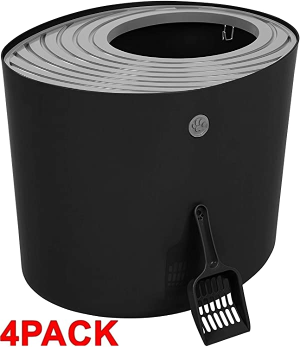 IRIS Top Entry Cat Litter Box with Cat Litter Scoop (4 Pack Large, Black/Gray) (Color: Black/Gray, Tamaño: 4 Pack Large)