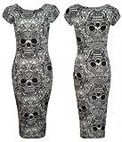 Topnotch New Ladies Girls Barbie Doll Graffiti Aztec Tie Dye Print Short/Cap Sleeve Midi Length Dress-Wine Skull