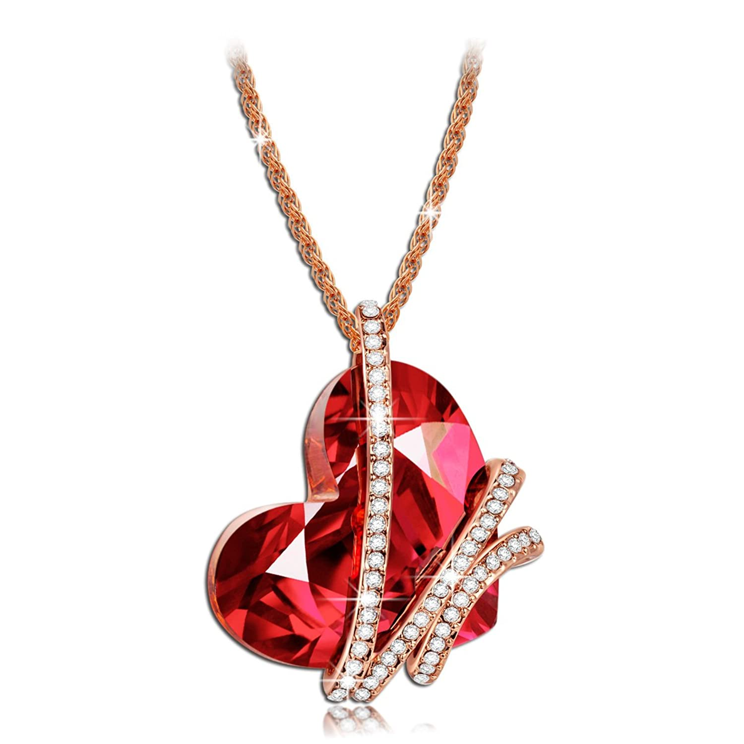 "Qianse ""Heart of the Ocean"" SWAROVSKI ELEMENTS Crystal Heart Shape Pendant Necklace - 2016 Paris Fashion Week Latest Heart Shape Design, Heart Crystal Women Jewelry, Symbol of Love"