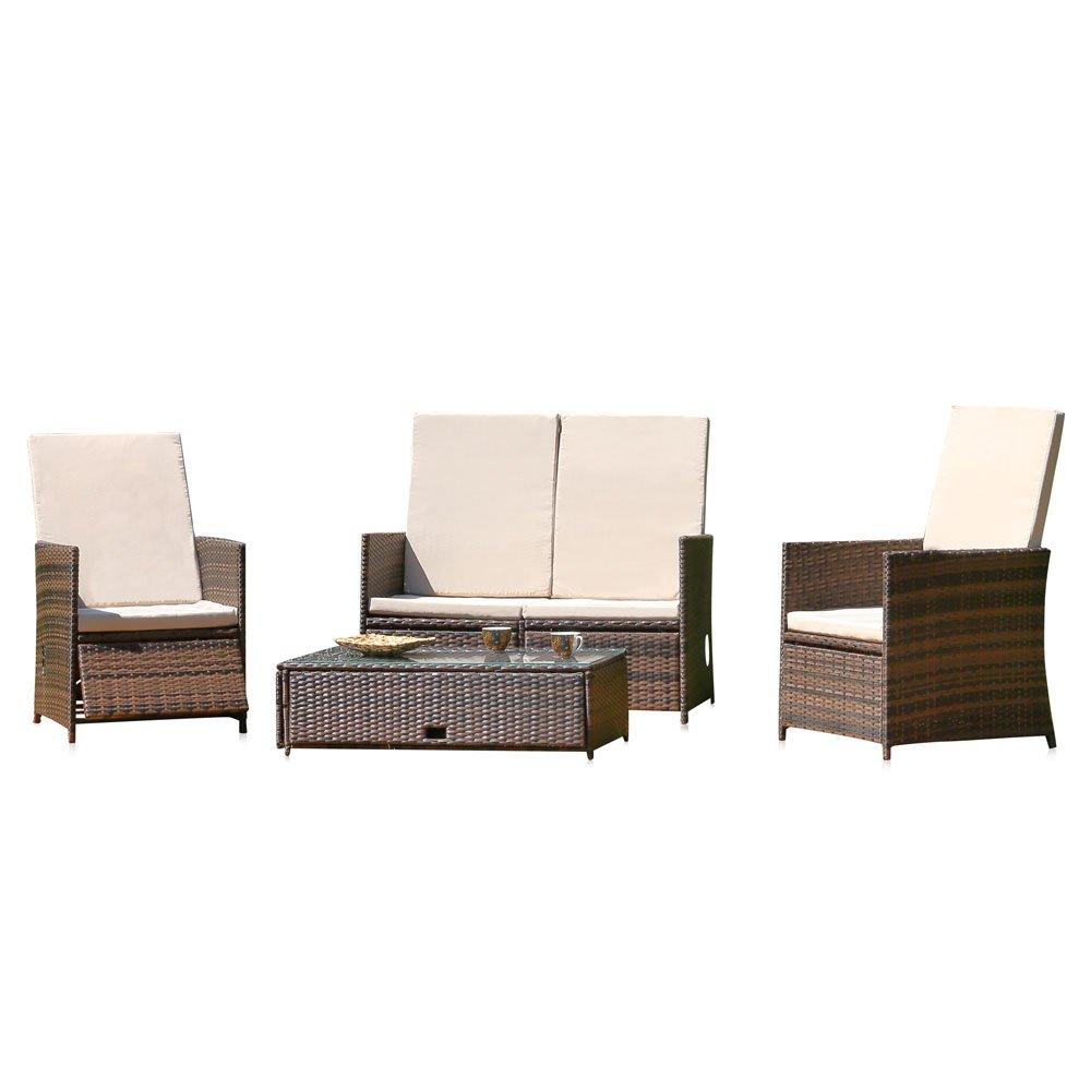 Essgruppe mit 2 Sessel Couch und Tisch + Kissen in braun aus Polyrattan