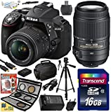Nikon D5300 24.2 MP CMOS Digital SLR Camera with 18-55mm f 3.5-5.6G ED VR II AF-S DX NIKKOR Zoom Lens & Nikon AF-S NIKKOR 55-300mm f 4.5-5.6G ED VR Zoom Lens (Black) (1522) with Best Value Accessory Bundle Kit includes 16GB SD Memory Card + SD Card Reader + 60