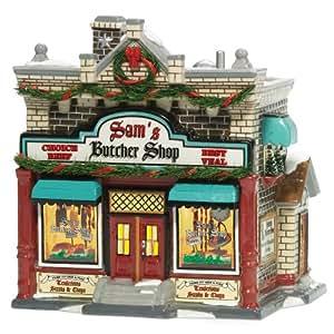 Department 56 Snow Village Sam's Butcher Shop: Amazon.co