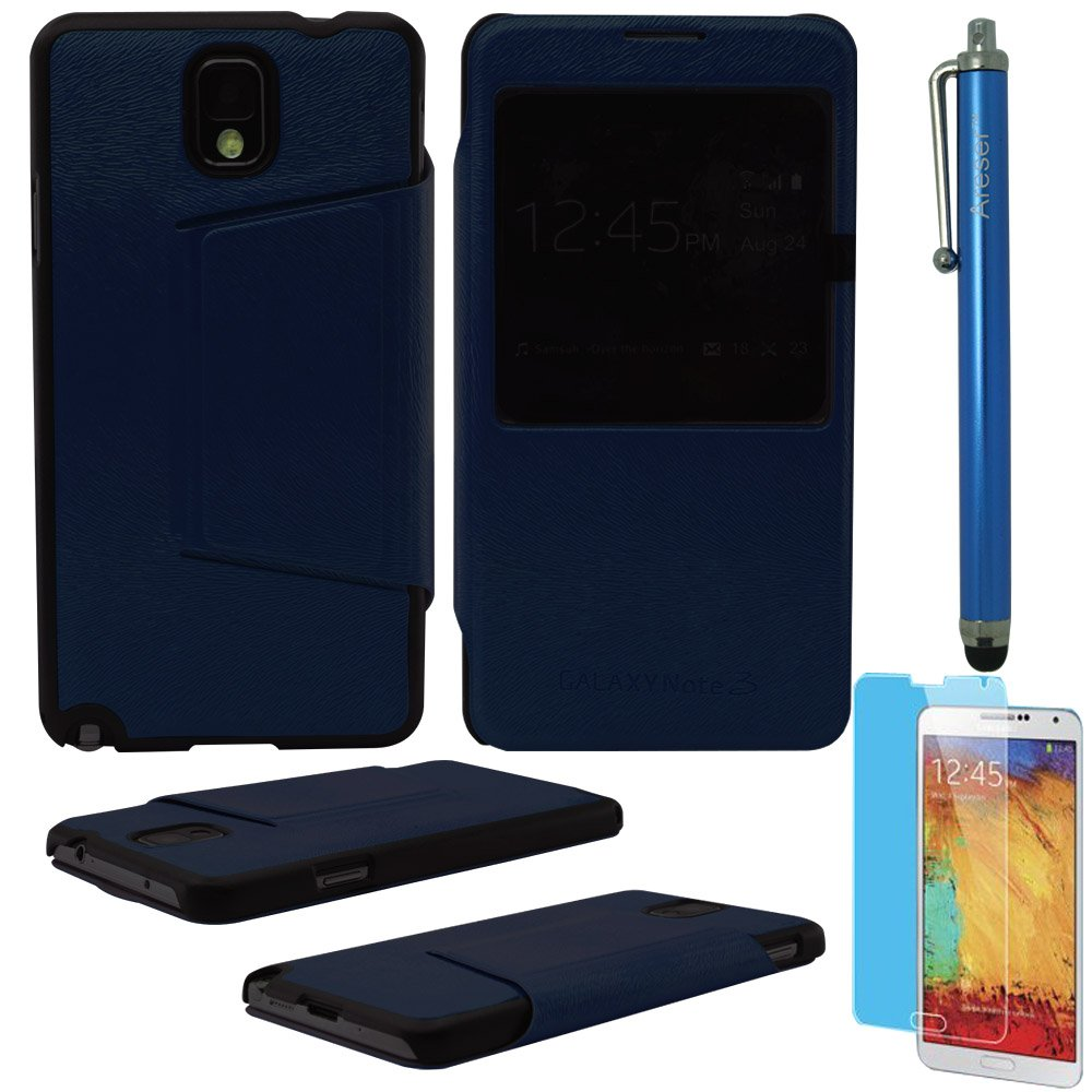 Areser(TM) S-View Flip Cover Leather Case - Blue