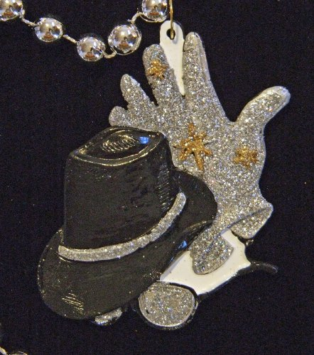 MJ Hat and Gloves Mardi Gras Bead Necklace New Orleans Beads Carnival Parade