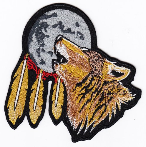 Biker Wolf Feather Iron on Backing Embroidered Patch Heat Seal Motorcycle Rebel Appliques