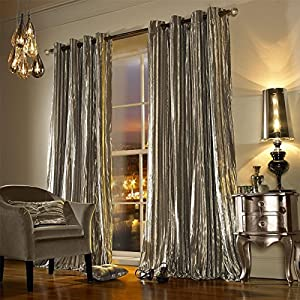 """Kylie Minogue Iliana Praline 66x72"""" 168x183cm Lined Velvet Ring Top Curtains from Kylie Minogue"""