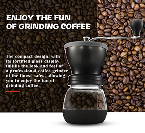 Easehold Manual Coffee Grinders Ceramic Burr Hand Crank Grinding Mill (Grey)