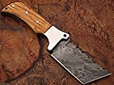 Custom Made Damascus Tanto Blade Knife w/ Full Tang Olive Wood Handle