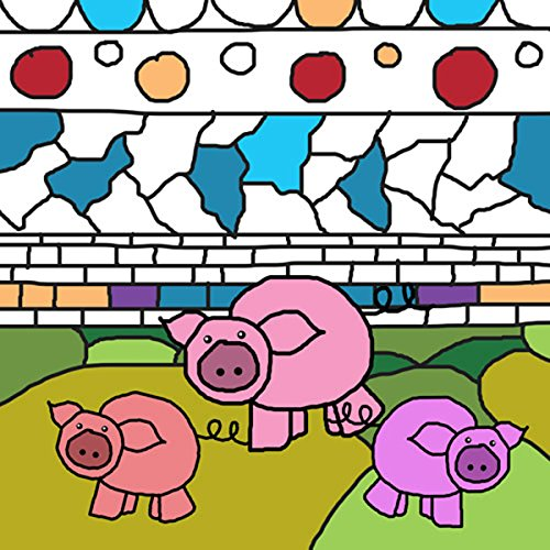 Green Leaf Art Pigs Outline Canvas Art