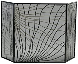 Cyan Design 02447 Finley Fire Screen in Silver and Black,