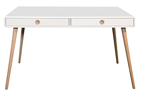 Bureau avec 2 tiroirs coloris blanc en MDF - Dim : 75 x 130 x 70 cm -PEGANE-