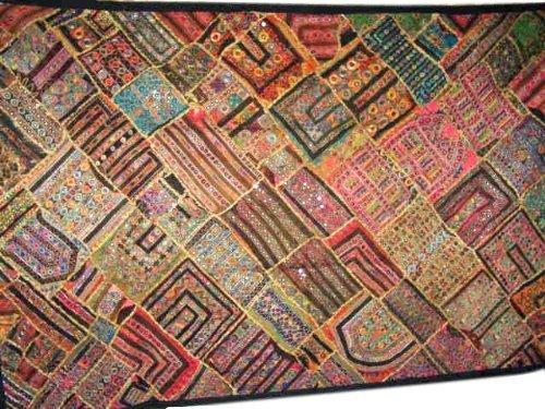 Ricamo indiano, fatto a mano, Vantage Patchwork Sari Wall Hanging 78 X 40