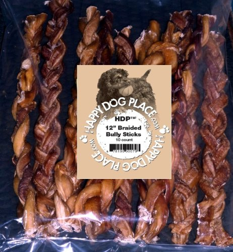 hdp braided bully sticks odor free 12 bully sticks pack of 10 coconuas95. Black Bedroom Furniture Sets. Home Design Ideas