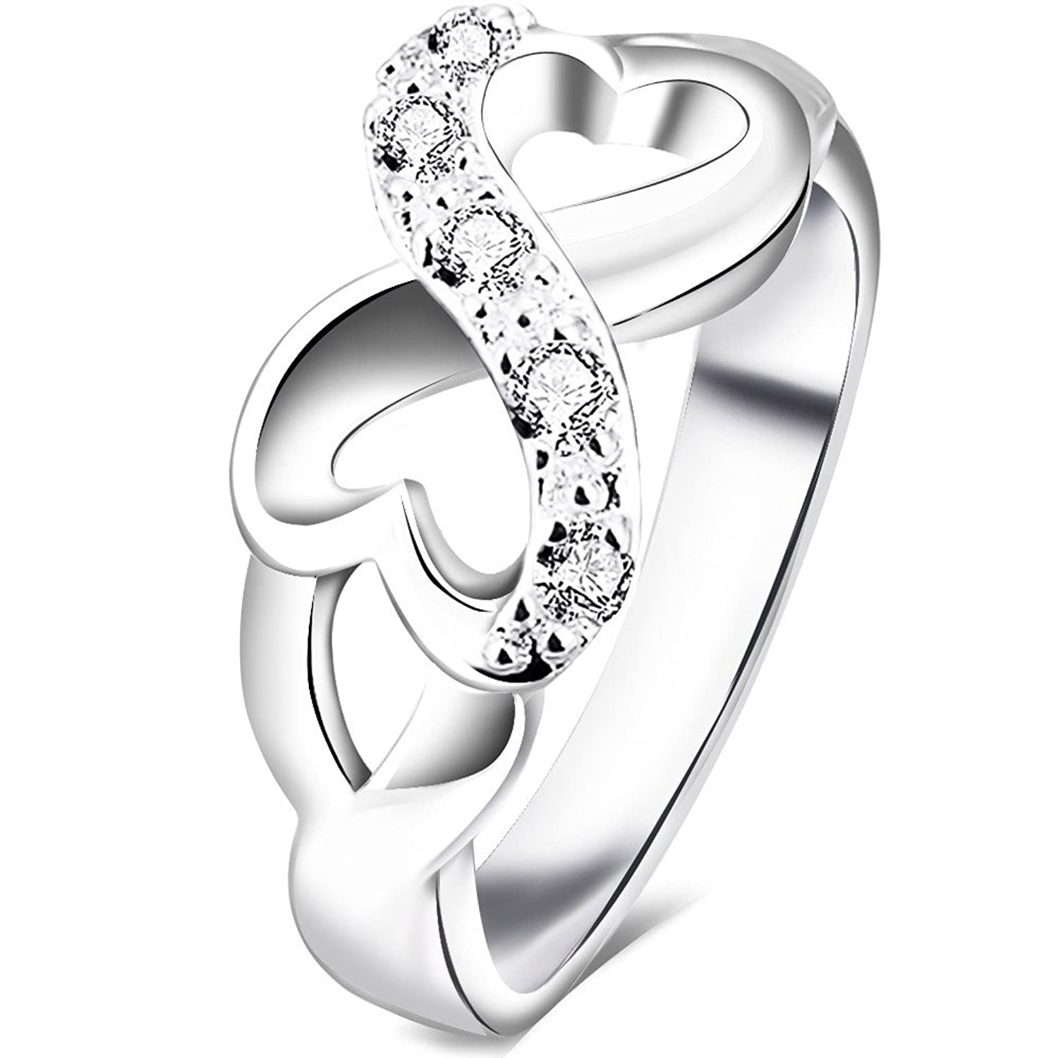 BOHG Jewelry Womens 925 Sterling Silver Plated Cubic Zirconia CZ Heart Infinity Symbol Ring Wedding Band