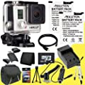 GoPro HERO3+ Silver Edition + Two AHDBT-301 Replacement Lithium Ion Battery + External Rapid Charger + 64GB microSD Class 10 Memory Card + Mini HDMI Cable + Carrying Case + Full Size Tripod + SDHC Card USB Reader + Memory Card Wallet + Deluxe Starter Kit