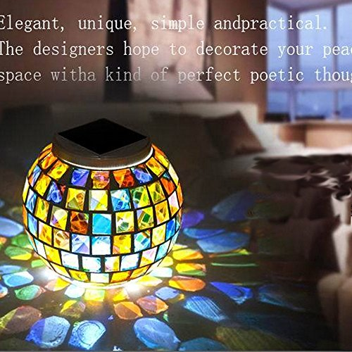 Solar Powered Mosaic Glass Ball Garden Patio Lights,Color Changing Solar Table LED Lights,Waterproof Solar Outdoor Night Lights For Parties Decorations,Party,Christmas,Home,Yard,Festival Gift.