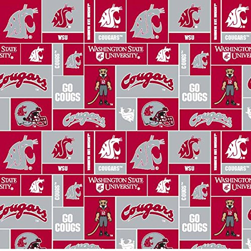College Washington State University Cougars Print Fleece Fabric By the Yard
