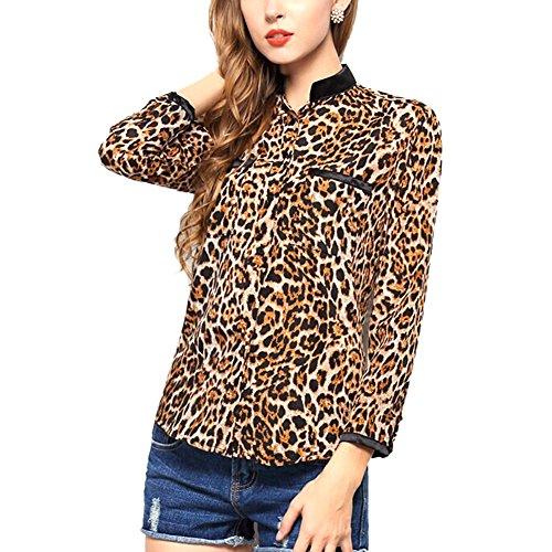 Toptie Women'S Stars Leopard Printed Long Sleeve Chiffon Shirt Blouse Top Leopard-Xl