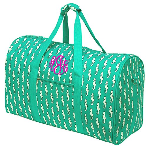 Personalized Seahorse Ladies Overnight Duffle Bag Green 21 Inch