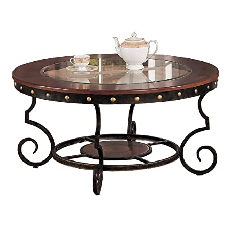 Poundex Firebird Series Coffee Table Round Glass And Rod Iron Finish