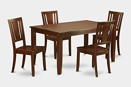 East West Furniture DUDL5-MAH-W 5-Piece Dining Table Set, Mahogany Finish