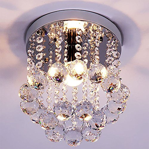 ZEEFO Crystal Chandeliers Light, Mini Style Modern Décor Flush Mount Fixture With Crystal Ceiling Lamp For Hallway, Bar, Kitchen, Dining Room, Kids Room (8 inch) (Flush Mount Modern Ceiling Fan compare prices)