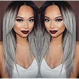 Superwigy® Long Straight Hair Two Tone Black and Grey Ombre Wig Heat Resistant Fiber Synthetic Wigs (Color: black and grey, Tamaño: adjustable size fits most)