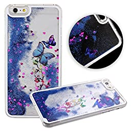 iPhone 6S Plus Case,iPhone 6 Plus Case,ikasus Creative Design Flowing Liquid Floating Luxury Bling Glitter Sparkle Butterfly Hard Case for Apple iPhone 6S Plus (2015)/ iPhone 6 Plus (Butterfly:Blue)