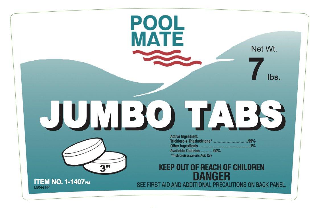 Pool Mate 1-1407 Jumbo 3-Inch Chlorine Tablets, 7-Pound