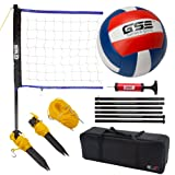 GSE Games & Sports Expert Portable Badminton Volleyball Set. Including Volleyball/Badminton Net System and Accessories. (Recreational Volleyball Set)