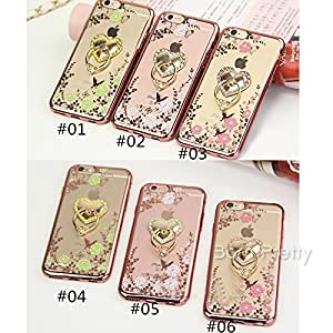 GENERIC 1 Pc Stylish Floral Print Metal Heart Support Back Phone Case Cover For iPhone 5/6/6 Plus # 27176(03#(iphone5)