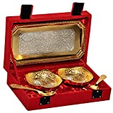 Rangsthali: home decorative gold & silver plated brass bowl & tray set of 5 pcs # rbsg00024