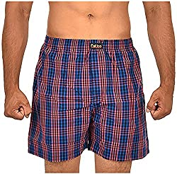 CALICO Men's Cotton Boxers (CAL_22_L, Red and Blue, L)