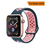 YC YANCH Greatou Compatible for Apple Watch Band 38mm,Soft Silicone Sport Band Replacement Wrist Strap Compatible for iWatch Apple Watch Series 3/2/1,Nike+,Sport,Edition,S/M,Lightpink Midnightblue (Color: Lightpink/Midnightblue, Tamaño: 38mm/40mm S/M)