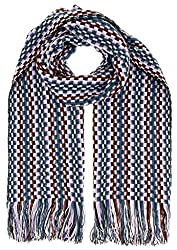 Missoni D4902 0003 Blue Wool Blend Crochet Knit Scarf
