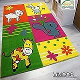 Moderner Kinderteppich Bauernhof Kinder Teppich Kuh Schaf in Bunte Farben