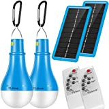 Flyhoom Portable Solar Light Camping Bulb - 2 Pack 220LM Indoor Outdoor Dimmable Light with Remote Controller Timing for Hiking Fishing Outage,Hurricane,Tent,Storage(2018 New Design 1800mA),Blub SLP2 (Color: Blue-2pack, Tamaño: A21)