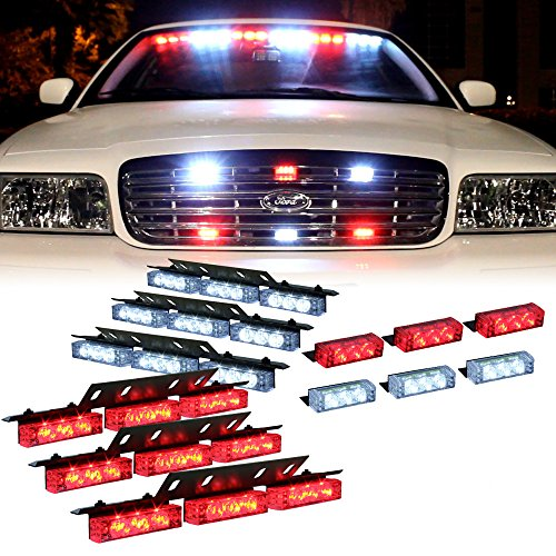 Red White 54X Led Emergency Service Vehicle Dash Deck Grill Warning Light - 1 Set