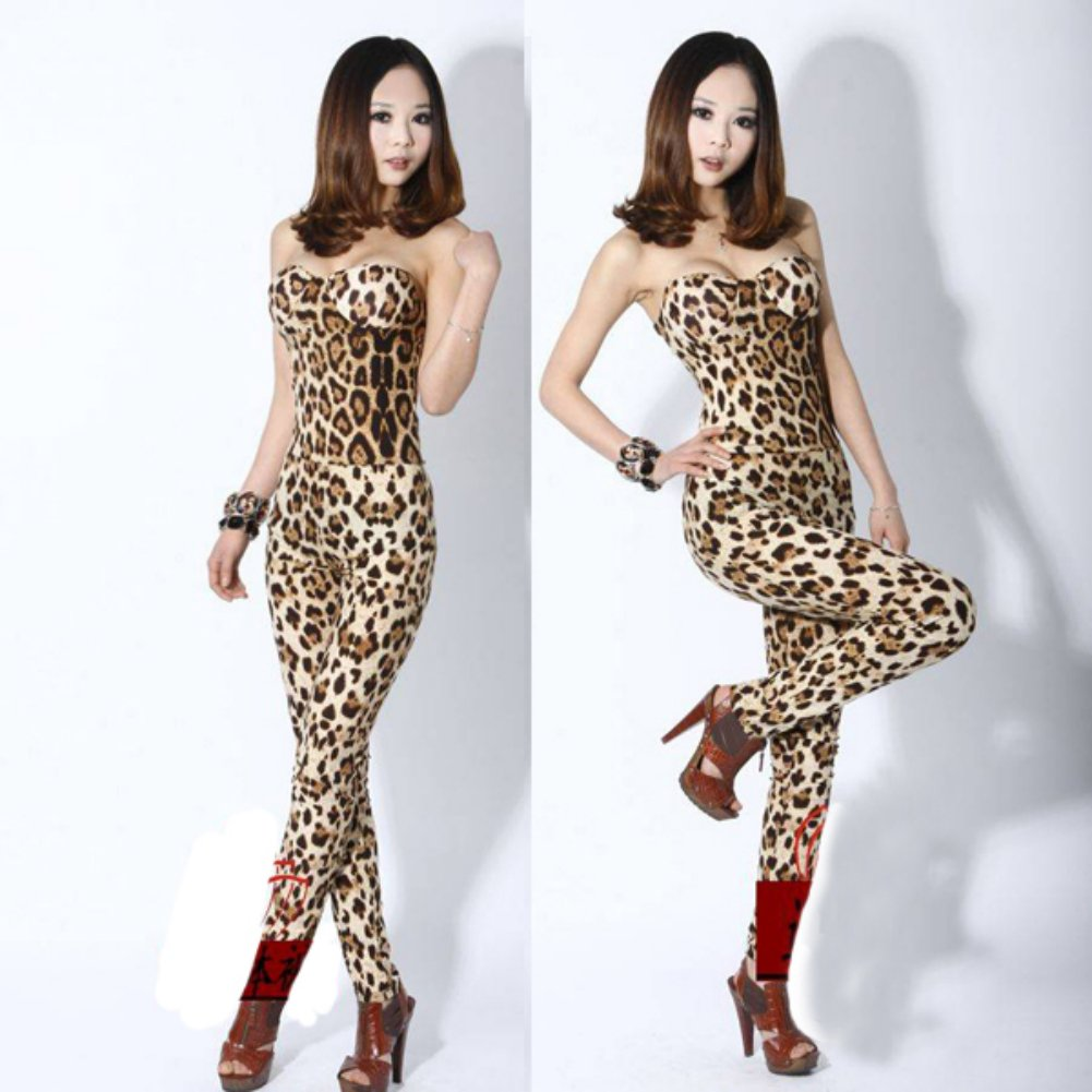 Zehui Womens Strapless Jumpsuit Playsuit Bodysuit Rompers Leopard
