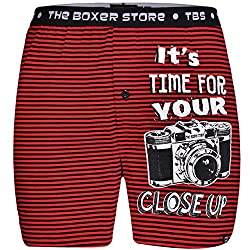 The Boxer Store Mens Cotton Boxer Shorts -Red -Small