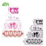 1 piece 4Pcs/Set Valentine's Day Cake Stencil Plastic Cookie Cake Stencil Fondant Cake Decorating Tools for Baking Pastry Cookie